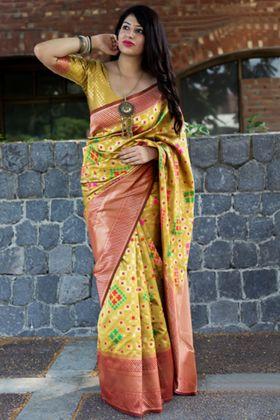 Banarasi Patola Silk Yellow Color Wedding Saree With Weaving Work