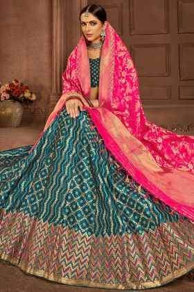 Banarasi Silk Designer Lehenga Choli Blue Color With Jacquard Work