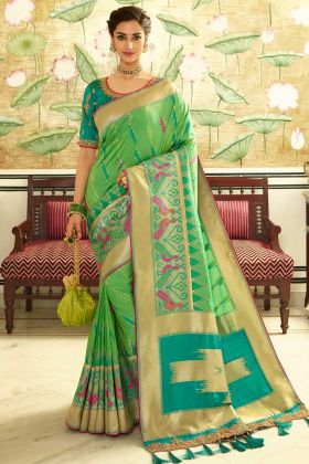 Banarasi Silk Designer Saree Parrot Green Color With Sequence Work
