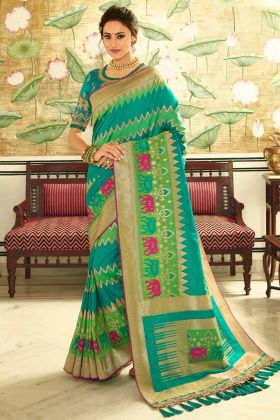 Banarasi Silk Designer Sareee Sequins Work In Rama and Parrot Green Color
