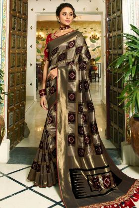 Banarasi Silk Festival Saree Black and Bronze Color With Pearl Work