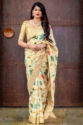 Banarasi Silk Jacquard Cream Saree