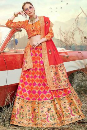 Banarasi Silk Jacquard Lehenga Choli Weaving Work In Multi Color