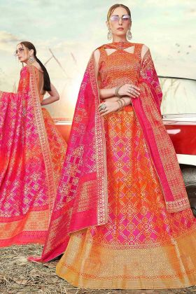 Banarasi Silk Jacquard Reception Lehenga Choli MultiColor With Weaving Work