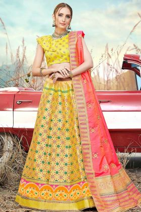 Banarasi Silk Jacquard Reception Lehenga Choli Yellow Color With Jacquard Work