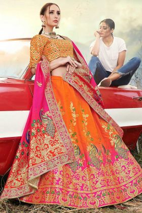 Banarasi Silk Jacquard Wedding Lehenga Choli Orange Color With Weaving Work