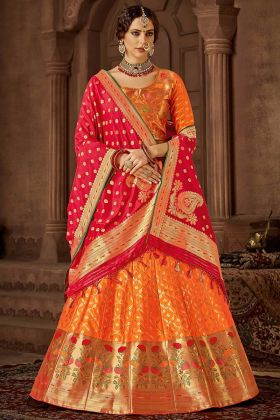 Banarasi Silk Lehenga Choli Orange Color With Jacquard Work