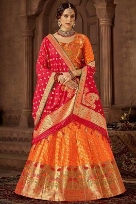 Banarasi Silk Lehenga Choli Orange Color With Jacquard Work