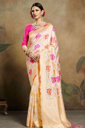 Banarasi Silk Off White Saree