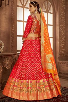 Banarasi Silk Red Lehenga Choli With Jacquard Work