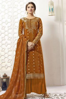 Banarasi Silk Rust Orange Palazzo Salwar Suit