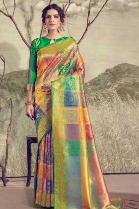 Banarasi Silk Saree Online In Multicolor