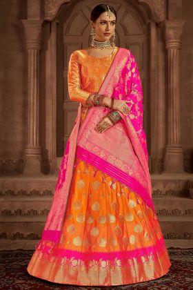 Banarasi Silk Wedding Lehenga Choli Jacquard Work In Orange Color