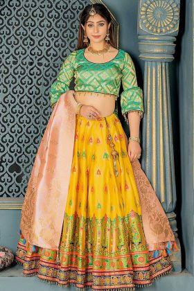 Banarasi Silk Wedding Lehenga Choli Resham Work In Yellow Color