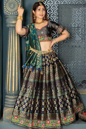 Banarasi Silk Wedding Lehenga Choli Zari Work In Navy Blue Color