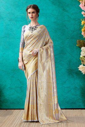 Banarasi Silver Color Saree Online
