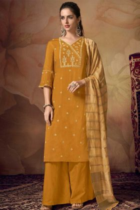 Banarasi Viscose Yellow Color Palazzo Dress In Embroidered Work