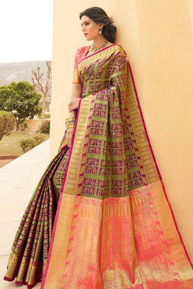 Banarasi Weaving Silk Multi Color Saree Online