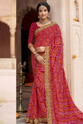 Bandhani Red Georgette Saree