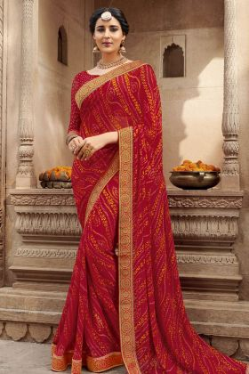 Bandhej Georgette Red Saree Online