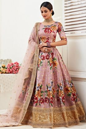Banglori Satin Wedding Lehenga Choli In Rosy Brown Color