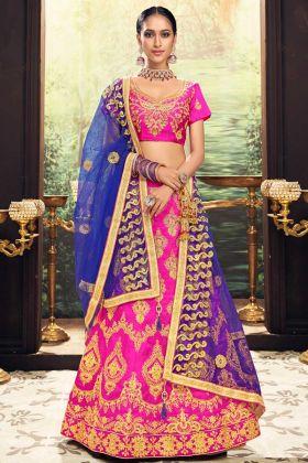 Banglori Silk Designer Lehenga Choli Heavy Zari Embroidery Work In Pink Color