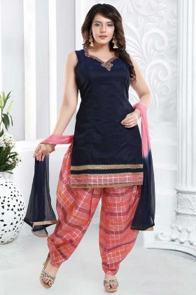 Banglori Silk Hand work Navy Blue Color Patiala Suit