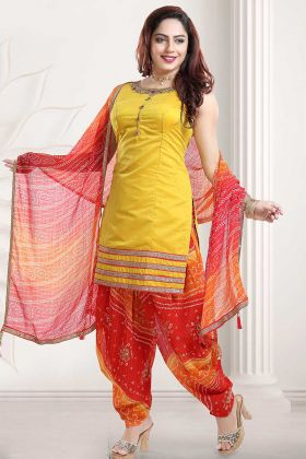 Banglori Silk Hand work Yellow Color Punjabi Suit Design