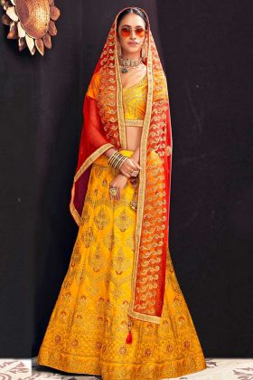 Banglori Silk Wedding Lehenga Choli Heavy Zari Embroidery Work In Yellow Color