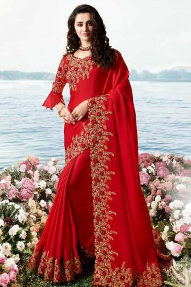 Barfi Silk Red Designer Saree In Pearl Work