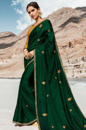 Barfi Silk Dark Green Embroidery Work New Saree Design