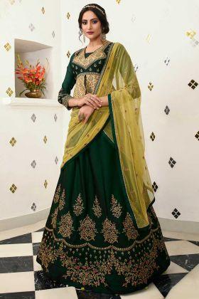 Barfi Silk Dark Green Lehenga Choli With Cream Choli