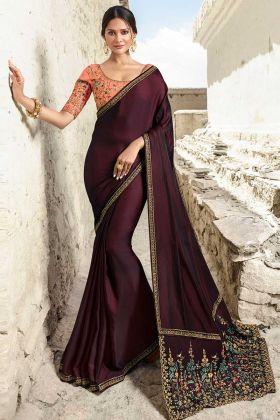 Barfi Silk Designer Saree Stone Work In Burgundy Color