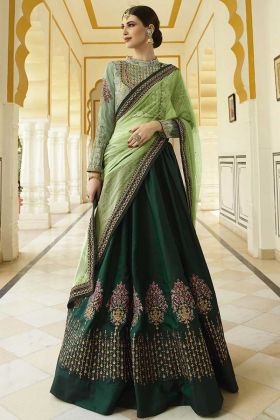 Barfi Silk Heavy Designer Lehenga Choli Green Color With Resham Embroidery Work
