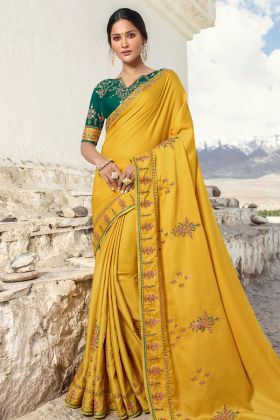 Barfi Silk Mustard Wedding Saree Online