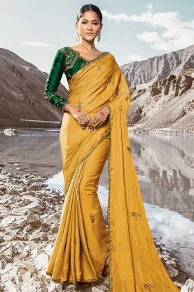 Barfi Silk Mustard Wedding Yellow Saree For Haldi Rasam