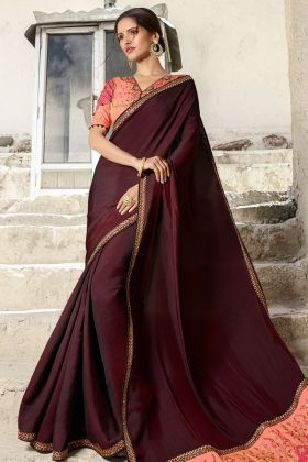 Barfi Silk Wine Embroidery Saree Online