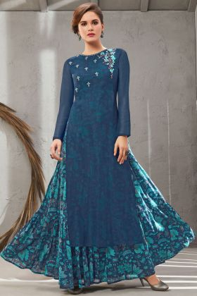 Beatiful Blue Color Poly Organdy Gown Online