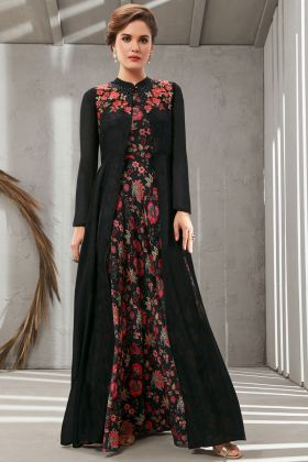Beautiful Black Color Poly Organdy Gown Online