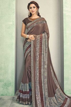 Beautiful Brown Color Sequence Embroidery Lycra Saree