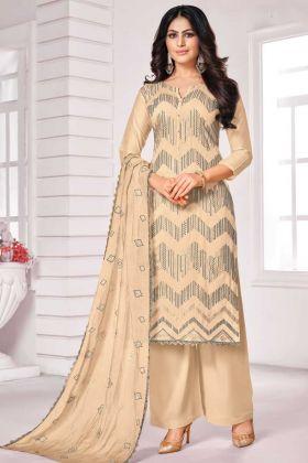 Beautiful Cream Color Designer Party Wear Salwar Suit