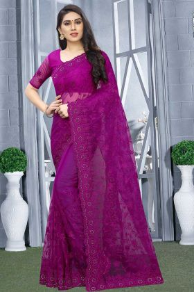 Beautiful Designer Saree Purple Net Fabric With Embroidered Blouse