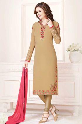 Beautiful Designer Straight Suit Beige Color