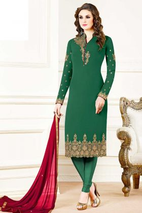 Beautiful Georgette Designer Straight Suit In Dark Green Color