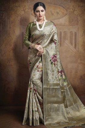 Beautiful Grey Color Jacquard Silk Saree