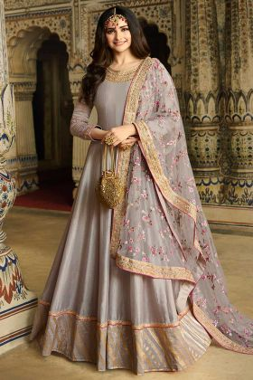Beautiful Grey Color Soft Silk Anarkali Suit Design