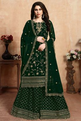 Beautiful Heavy Designer Sharara Suit In Dark Green