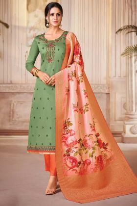 Beautiful Jam Satin Silk Green Color Salwar Suit