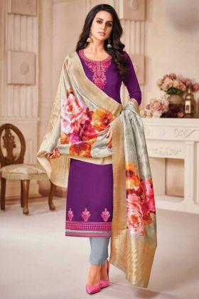 Beautiful Jam Satin Silk Purple Color Salwar Suit