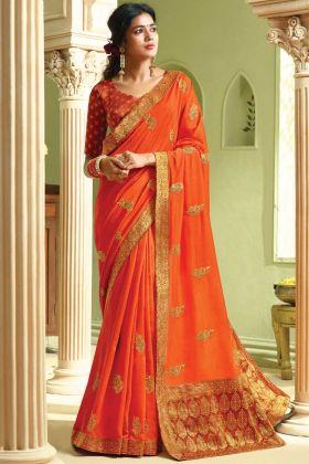 Beautiful Jari Embroidery Orange Art Silk Saree